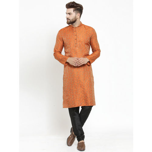 Jompers Men Orange Self Design Kurta with Churidar