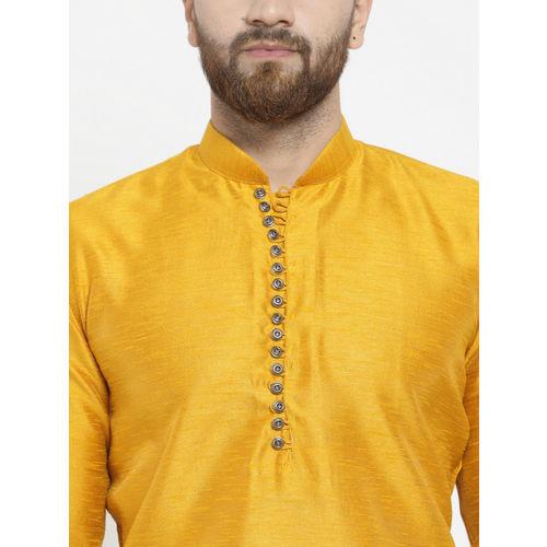 Jompers Men Yellow Self Design Kurta with Pyjamas