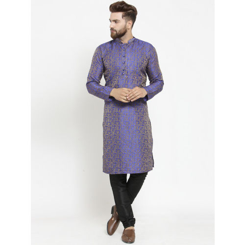 Jompers Men Blue Self Design Kurta with Churidar