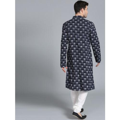 Rohit Bal Limited Men Navy Blue & White Printed Kurta with Pyjamas
