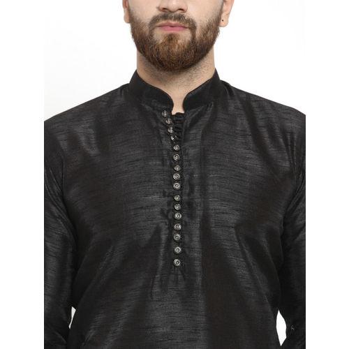 Jompers Men Black Self Design Kurta with Pyjamas