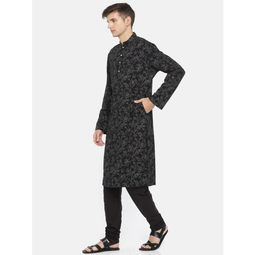 Rohit Bal Limited Men Black & Grey Printed Kurta with Salwar
