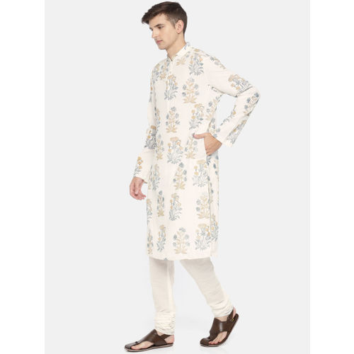 Rohit Bal Limited Men Cream-Coloured Printed Kurta with Salwar