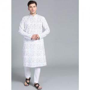 Rohit Bal Limited Men White Printed Kurta with Pyjamas