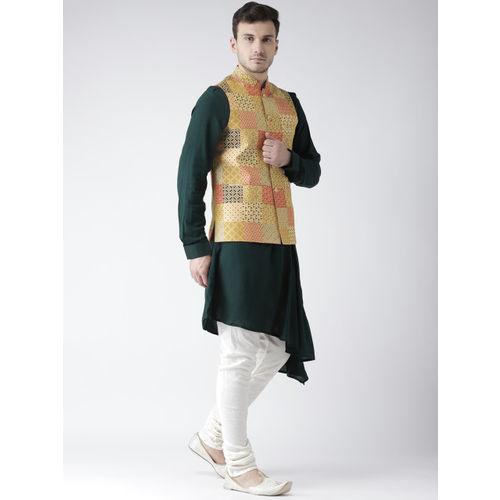 KISAH Men Green Solid Kurta with Churidar