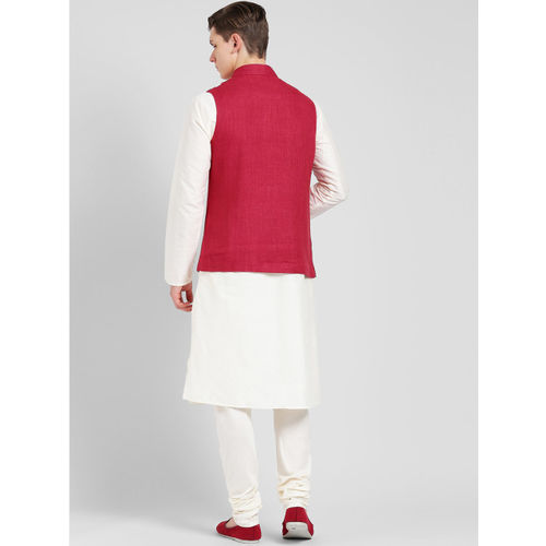 KISAH Men Cream-Coloured & Pink Solid Kurta with Churidar
