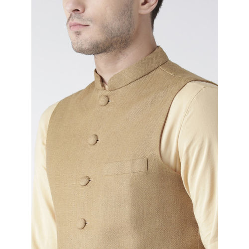 KISAH Men Beige Solid Kurta with Churidar 7 Nehru Jacket
