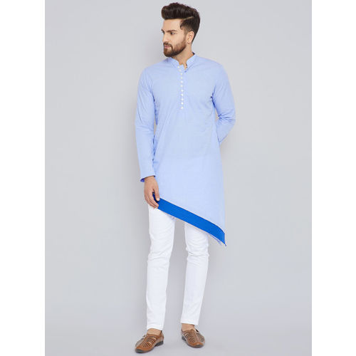 See Designs Men Blue & Grey Solid Kurta with Trousers