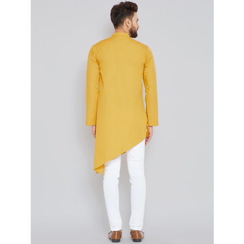 See Designs Men Mustard Solid Kurta with Trousers