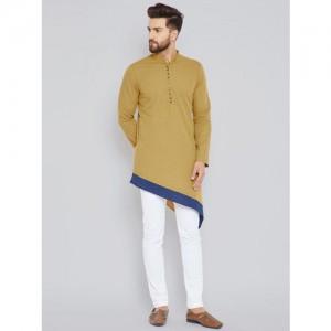 See Designs Men Mustard & Khaki Solid Kurta with Trousers