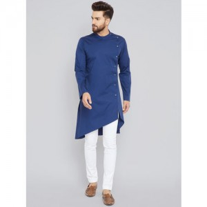 See Designs Men Blue Solid Kurta with Trousers