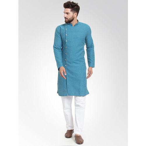 Jompers Men Green Self Design Kurta with Salwar