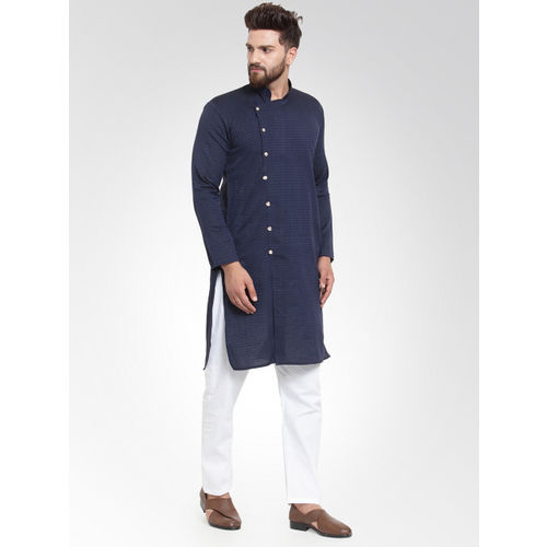 Jompers Men Navy Blue Self Design Kurta with Salwar