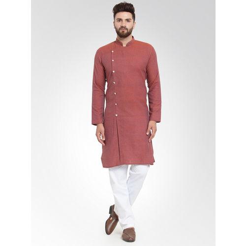 Jompers Men Red Self Design Kurta with Salwar
