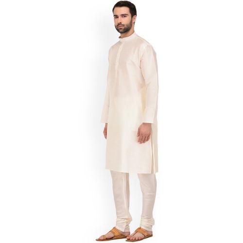 TAG 7 Men Cream-Coloured Solid Kurta with Churidar