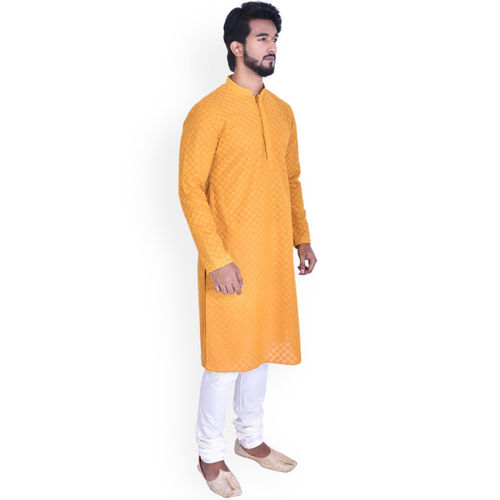 Manyavar Men Yellow & White Self Design Kurta with Churidar