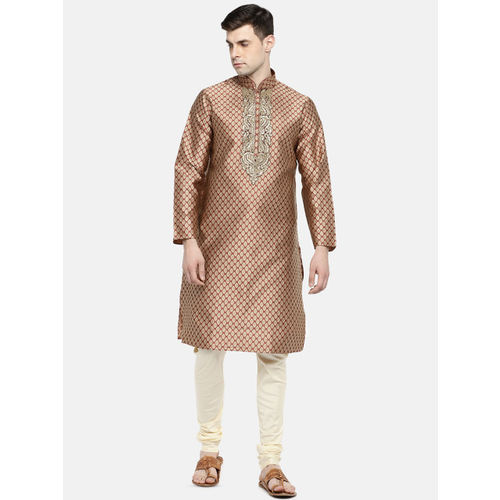 Ethnicity Men Red Printed Silk Kurta with Trousers
