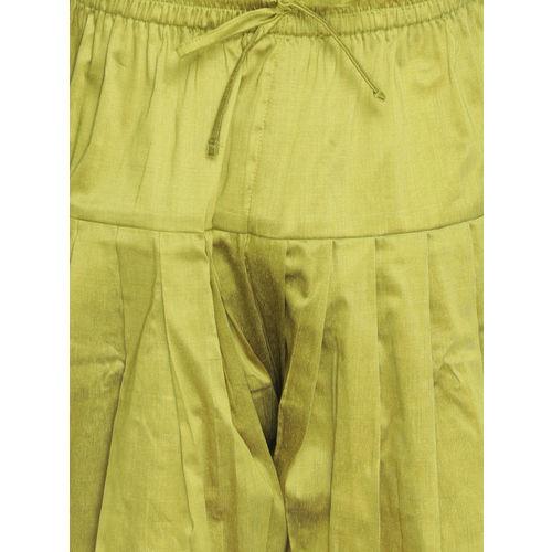 VASTRAMAY Men White & Green Solid Kurta with Dhoti Pants
