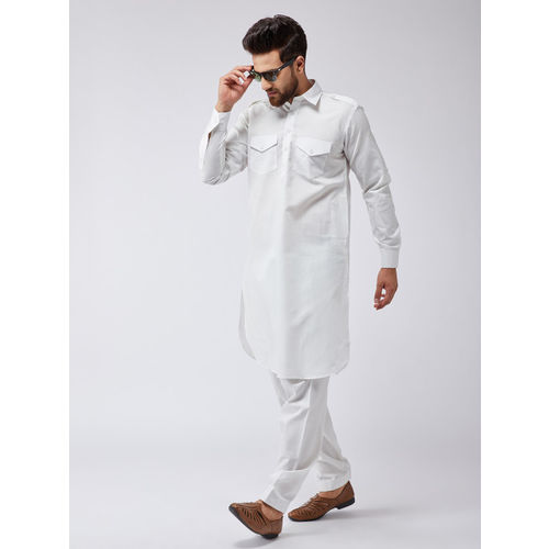 SOJANYA Men Off-White Solid Kurta with Salwar
