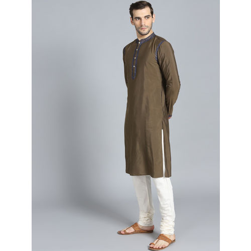 Rohit Bal Limited Men Olive Green & Off-White Yoke Design Kurta with Pyjamas