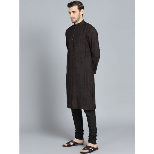 Rohit Bal Limited Men Black & Burgundy Printed Kurta with Pyjamas