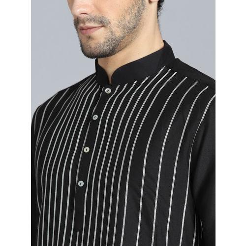 Rohit Bal Limited Men Black & White Striped Kurta with Pyjamas