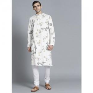 Rohit Bal Limited Men White & Yellow Printed Kurta with Pyjamas