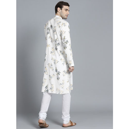Rohit Bal Limited Men White & Yellow Printed Kurta with Pyjamas