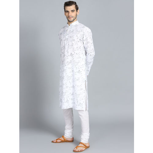 Rohit Bal Limited Men White & Navy Blue Printed Kurta with Pyjama