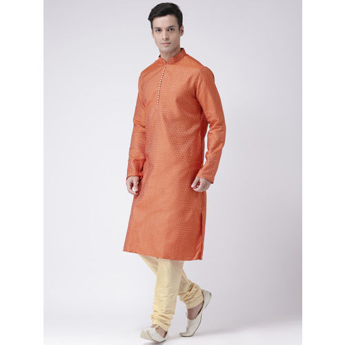 DEYANN Men Orange & Cream-Coloured Jacquard Design Kurta with Pyjamas