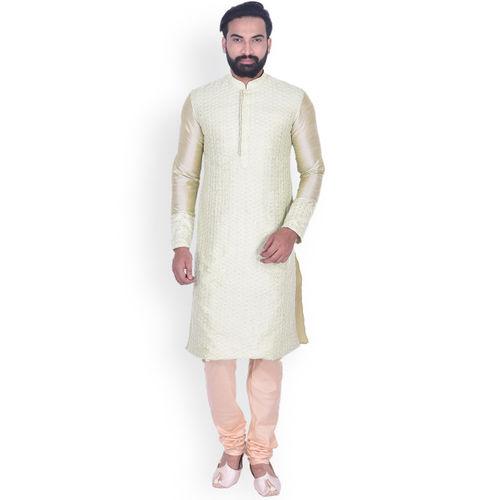 Manyavar Men Green & Peach-Coloured Self Design Kurta with Churidar