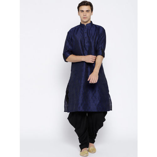 Chitwan Mohan Men Navy Blue & Black Self Design Kurta with Salwar