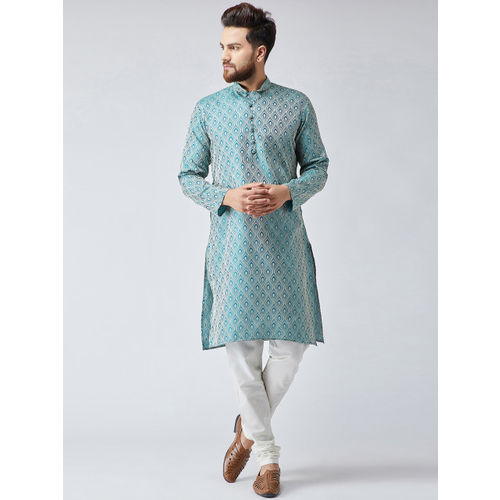 Jompers Men Green & White Woven Design Kurta with Churidar