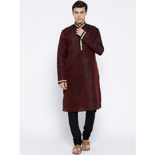 Chitwan Mohan Men Maroon & Black Self-Design Kurta with Pyjamas