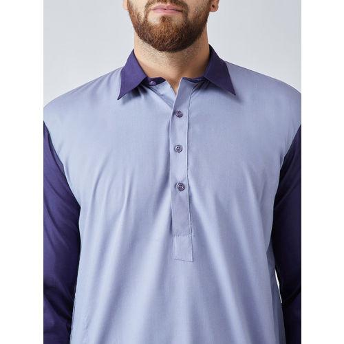 SOJANYA Men Blue & White Solid Kurta with Pyjamas
