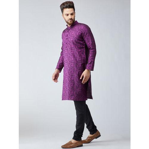 SOJANYA Men Purple & Black Self Design Kurta with Churidar