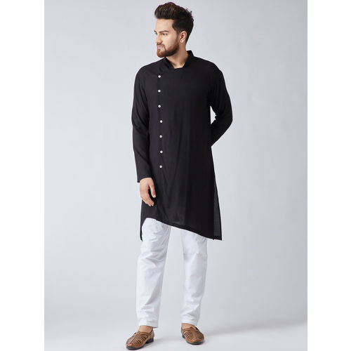 SOJANYA Men Black & White Solid Kurta with Pyjamas