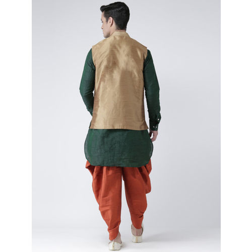 DEYANN Men Brown & Green Solid Kurta with Patiala