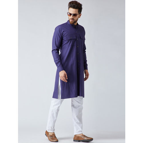 SOJANYA Men Navy Blue & White Solid Kurta with Pyjamas