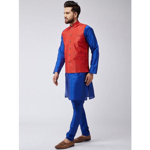 SOJANYA Men Blue & Marron Solid Kurta with Churidar & Nehru Jacket