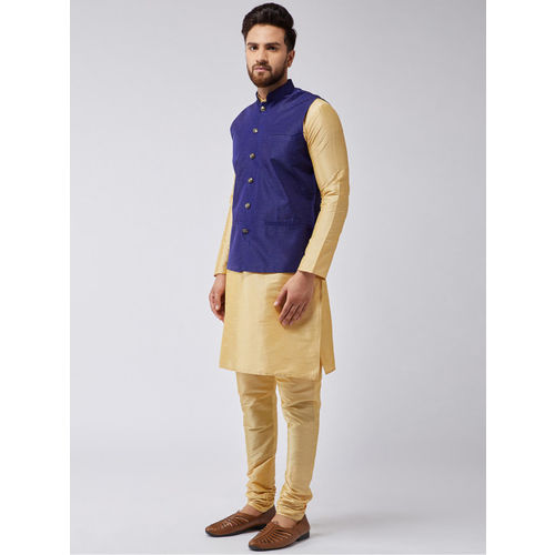 SOJANYA Men Gold-Toned & Navy Blue Solid Kurta with Churidar & Nehru Jacket