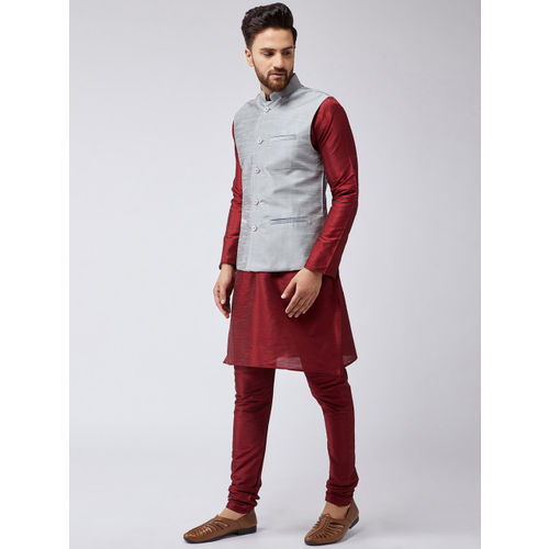 SOJANYA Men Maroon & Grey Solid Kurta with Churidar & Nehru Jacket