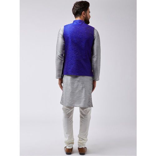 SOJANYA Men Grey & Blue Self Design Kurta Set