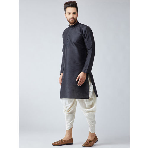 SOJANYA Men Black Solid Kurta with Harem Pants
