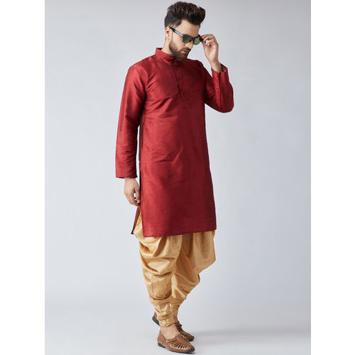 SOJANYA Men Maroon & Gold-Coloured Solid Kurta with Dhoti Pants