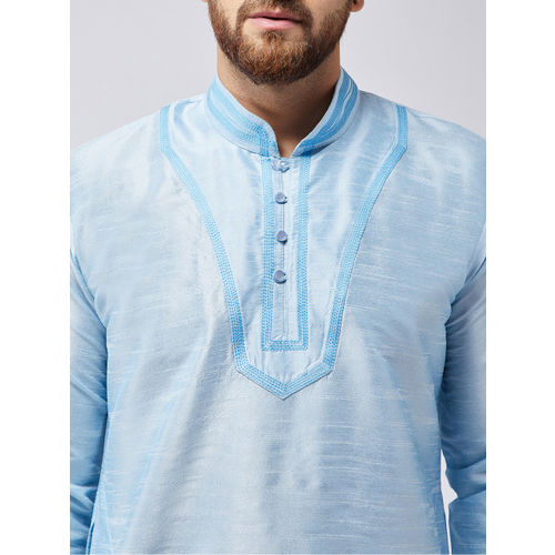 SOJANYA Men Blue Self Design Kurta with Dhoti Pants