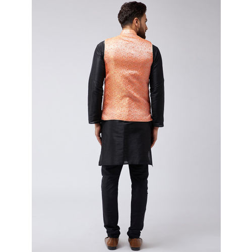 SOJANYA Men Black Self Design Kurta with Churidar