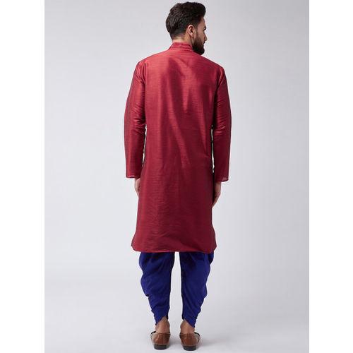 SOJANYA Men Maroon & Blue Solid Kurta with Harem Pants