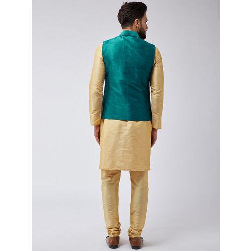 SOJANYA Men Gold-Toned & Teal Solid Kurta with Churidar & Nehru Jacket