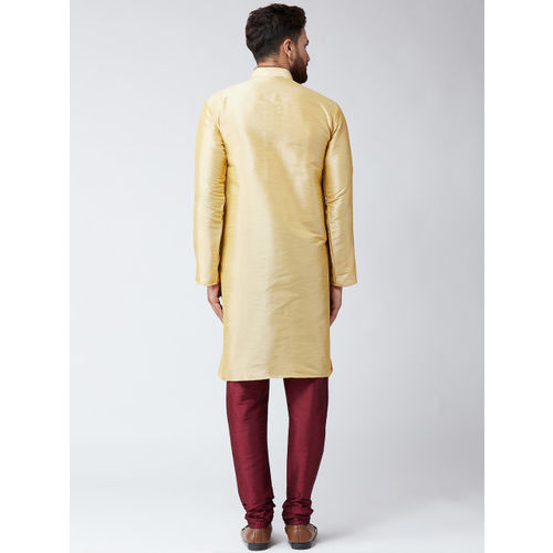 SOJANYA Men Gold-Toned & Maroon Solid Kurta with Churidar